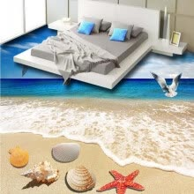 -Free Shipping Sea Sand Beach Shell flooring wallpaper living room square decorative waterproof floor mural 250cmx200cm on JD