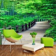 -Custom photo wallpaper fashion fresh woods path wallpaper living room sofa background wallpaper 3D bedroom wallpaper mural on JD