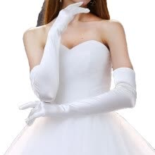 875062531-Satin Long White Bridal Gloves Pure Color Without Decoration Full Finger Gloves on JD