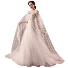 -3D-Floral Appliques Pearls Sash Cowl Backs Wave Details Slim Lace A Line Wedding Gown on JD