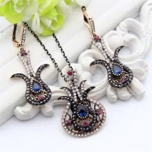 -Vintage Turkish Women Tulip Flower Jewelry Sets Antique Gold Color Resin Earring Rhinestone Necklace Nigeria Bridal Jewelry Set on JD