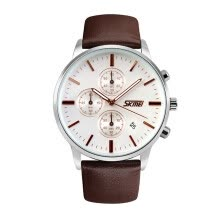 -SKMEI 9103 Lovers Genuine Leather Strap Date Auto Mode Casual Date Auto Men and Women Watches on JD