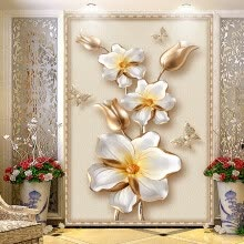 -3D Stereoscopic Luxury Gold Flower Jewelry Photo Mural Wallpaper European Style Hotel Living Room Entrance Backdrop Wall Papers on JD