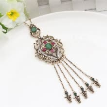 -Vintage Turkish Tassels Resin Long Pendant Necklaces Hollow Roll Grass Pattern Antique Gold Color Casual&Party Women Jewelry on JD
