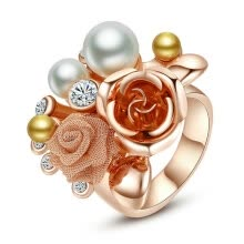 875062457-Yoursfs® 18K Rose Gold Plated Pearl Flower Ring Use Austrian Crystal Fashion Jewelry on JD