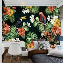 -Custom Mural Wallpaper Painting Pastoral Parrot Tropical Rainforest Plant Cartoon Living Room TV Backdrop Wall Papers Home Decor on JD