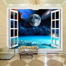 -Custom Mural Photo Wallpaper 3D Window Space Planet Earth Wall Painting Bedroom Living Room Wall Papers Home Decor Wallpaper on JD