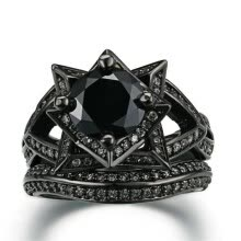 -Luxury Black Cubic Zirconia Black Gold Color Ring Sets Unique Vintage Cocktail Rings for Women R622 on JD