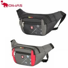 875062576-Oiwas Stylish Waterproof Waist Bag Fanny Pack Shoulder Bag Men Women Casual Black Gray Nylon Traveling Money Phone Bag on JD