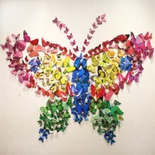 8750202-NicerDicer 12pcs Hotsale Fashion 3D stereo art butterfly  living room decal DIY wall stickers wall decoration 96268-96276 on JD
