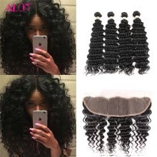 -Alot Deep Wave Bundles with Frontal Remy Indian Hair 4+1 Deep Wave 13x4 Swiss Lace Frontal Unprocessed Virgin Hair on JD