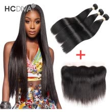 -HCDIVA Grade 7A Indian Virgin Human Hair Straight 3 Bundle with Lace Frontal Ear to Ear Closure with Baby Hair No Shedding India on JD
