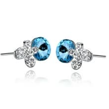 -Yoursfs® 18K White Gold Plated Crystal Butterfly Studs Earrings Use Blue Austrian Crystal Fashion Jewelry on JD