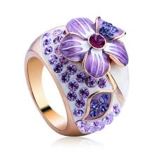 -Yoursfs® 18K Rose Gold Plated Purple Flower Painting Ring Use Austrian Crystal Fashion Jewelry on JD