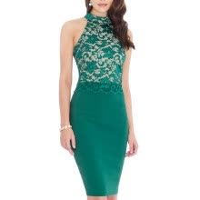 875061820-Bigood Women's Chic Halter Neck Lace Embroider Bodycon Skirt Midi Dress on JD
