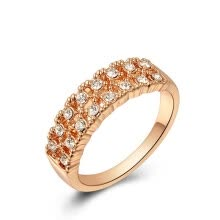875062457-Yoursfs® 18K Rose Gold Plated Double Line Crystal Ring Use Clear Austrian Crystal Bridal Ring on JD