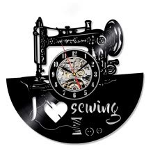 -Sewing Tools Theme Classic Vinyl Record Wall Clock  Decorative Clothing Store Wall Art Unique Gifts on JD