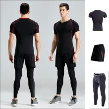 8750510-2018 new fitness clothing three suits sports short-sleeved quick-drying T-shirt gym training running fast dry clothing men on JD