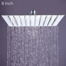 -8 inch Ultra-thin Square Stainless Steel Rainfall Shower Head Top Shower on JD
