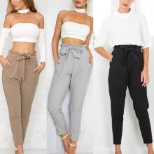 -Women's High-Waisted Tie Front Harem Pants on JD