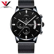 -NIBOSI Quartz Wrist Watch Male Clock Men Watch Fashion Top Brand Luxury Wristwatch Mesh Strap Stainless Steel Waterproof Relogios on JD