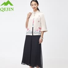875061819-2018 new Women suits 3 pieces summer sets lady silk sling coat cotton chiffon Pants embroidery flowar coat female office sets on JD