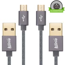 -Micro USB cable, Kiirie Durable Charging Cables ( 2x3.3ft/1M) with Nylon Braided and 6000+ Bend Lifespan for Android/Samsung/Windo on JD