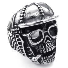 -Hpolw Vintage popular Stainless Steel Baseball Cap Skull Glasses Men Smoking skeleton Ring Fashion Jewelry  on JD