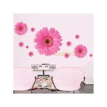 8750202-3D Lovely Pink Daisy Flower Home Bedroom Decal Removable Wallpaper Wall Sticker on JD