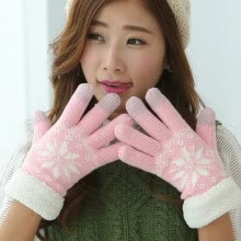 875062531-Fashion Women Warm Winter Snowflake Finger Mittens Thick Gloves Wool Knitted Fleece Screen Touchable Gloves For Mobile Phone on JD