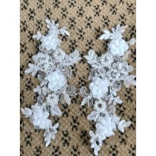 -Handmade sew on peal rhinestones patches ivory lace applique 25*12cm for top dress skirt on JD