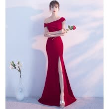 weddings-formal-events-One-Shoulder Bridal Toast Dress Korean Fashion Long Sexy Fishtail Evening Dress on JD