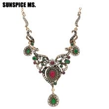 Gorgeous Turkish Women Flower Vintage Necklace Antique Gold Color Water  Drop Resin Neckalce Jewelry India Bohemia Wedding Bijoux 73625f920fa3