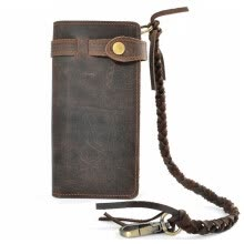 -Vintage Handmade Genuine Leather Wallet Fashion Men Long Purse Card Holder Bag Real Cowhide Waxed Leather Wallet With Woven Rope Clutch Bag on JD