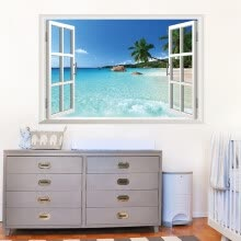 -mymei Decals Wall Sticker Decor Beach Sea Window Scenery 90CM*60CM Mural on JD