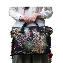 -New national chinese style canvas women ethnic embroidery bag vintage women messenger bags tote bags Hmong embroidered bags on JD