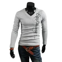 -Zogaa New Men's T-Shirt Fashion V-neck English Printing Casual on JD