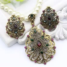-Vintage Flower Imitation Pearl Jewelry устанавливает античный золотой цвет из бисера ожерелье и серьги Rhinestone Jewelry India We on JD