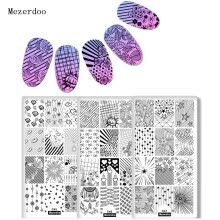 -3Pcs/Set Nail Art Stamping Plate Geometry Flower Nail Art Stamp Template Love Diamond Manicure Nail Art Image Plate Mezerdoo on JD