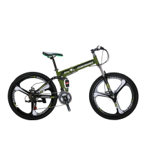 8750504-Eurobike 26' Folding Mountain Bike Shimano 21 Speed Disc brake Bicycle Full Suspension MTB Foldable Mag Wheels Blue/Red/Army Green on JD