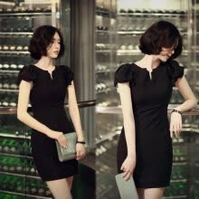 -High Quality Summer New Fashion Chiffon Dress Black Elegant Slim V-Neck Mini Elastic Women Work Dresses on JD