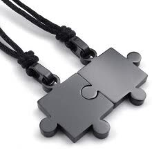 -Hpolw 2pcs Mens & Womens Couples Stainless Steel Puzzle Pendant Love Necklace Set, Black on JD