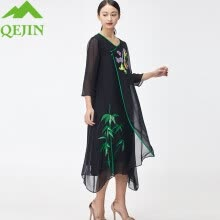 -women dresses summer mulberry silk floral Embroidery elegant female half sleeve O-neck long beach bohemia dresses casual vintage on JD