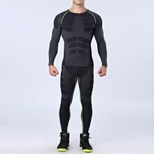 8750510-Quick Dry Men's Running Sets 2 pieces/sets Compression Sports Suits Men Basketball Tights Clothes Gym Fitness Jogging Sportswear on JD