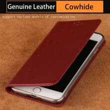 -Genuine Leather flip Case For iPhone 6 7 8 Plus X Oil Wax Leather Suture Phone Cover on JD