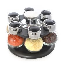 cookware-6pcs/set Ratary seasoning storage spice bottle rack kitchen salt and pepper cruet condiment set condimento containers for spices on JD