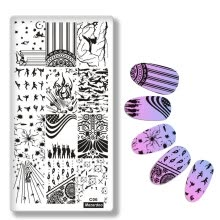 -Mezerdoo War Theme Stainless Steel Nail Stamping Plates Soldier Bullet Marks Patterns Nail Art Stamp Manicure Tools C06 on JD