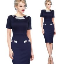 -Womens Elegant Vintage Pinup Colorblock Contrast Party Wear to Work Office Fitted Sheath Pencil Dress on JD