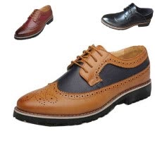 men-leather-shoes-Men Business Wingtip Oxfords Dress Formal Brogue Lace Up Casual Leather Shoes on JD