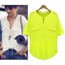 -Women's Fashion Summer Short-sleeve V-neck Cotton T-shirt Basic T-shirt Summer Shirt on JD